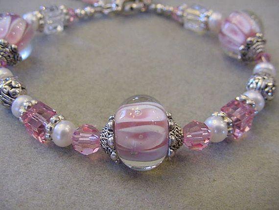 Pink Swarovski Cube Bracelet Pink Glass by Magicclosetbling