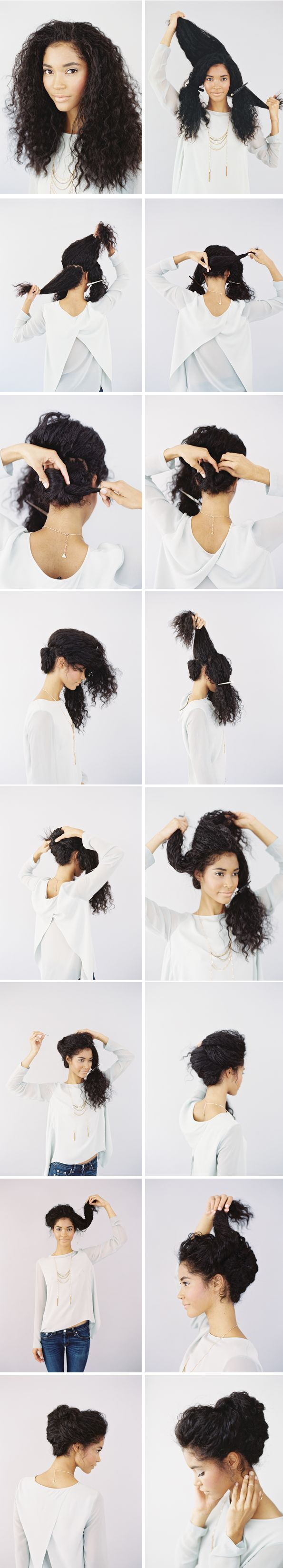 Pedir a Laura que te ayude a recrear ese top con la espalda abierta. Es una monada  Wedding Updo for Naturally Curly Hair