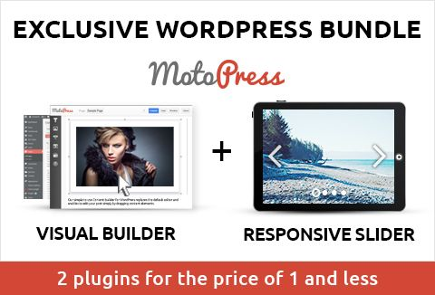 MotoPress is back with an awesome bundle of two fantastic, premium #WordPress #plugins -  1. #Responsive #Slider WordPress Plugin  Create attractive sliders and put them on landing pages that convert, showcase sections, home page - just about anywhere.  2. #Content #Editor Plugin  Frustrated with the default WordPress Editor? Use this plugin's intuitive Drag-n-Drop-enabled Content Editor to create WordPress Pages with just a few mouse clicks.