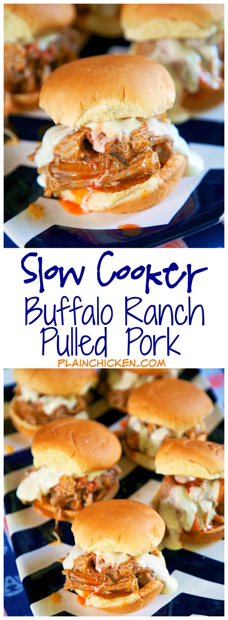 Slow Cooker Buffalo Ranch Pulled Pork {Football Friday}