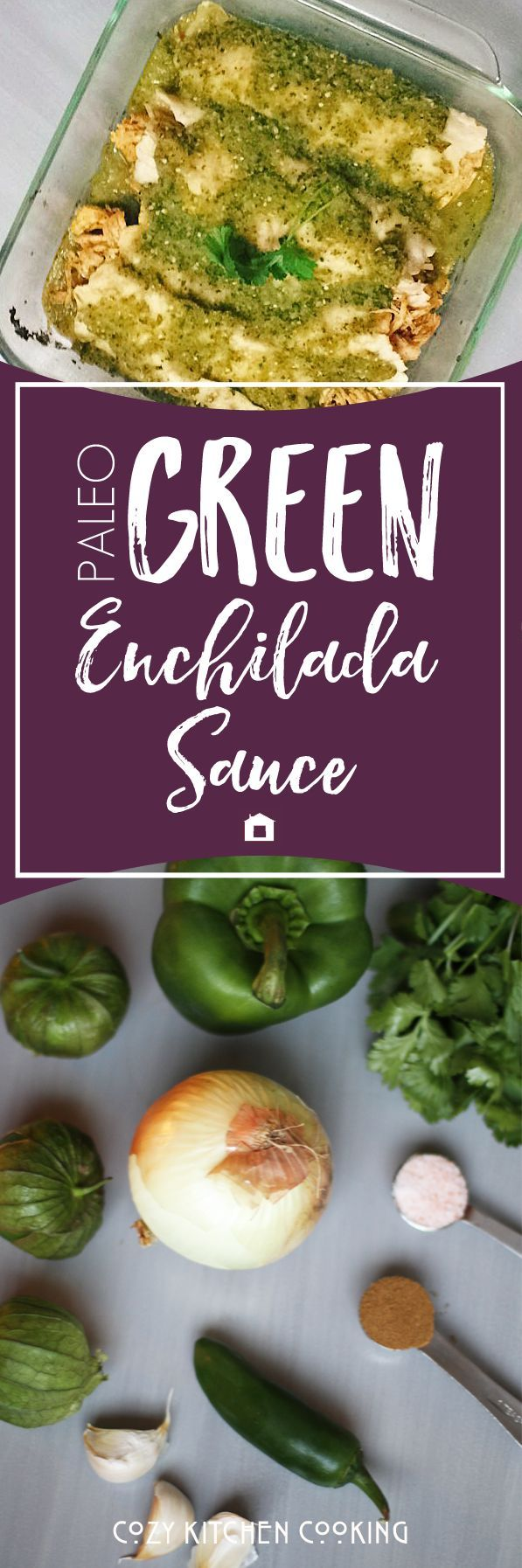 This Paleo Green Enchilada Sauce is so full of flavor! It tastes incredible as a salsa, on tacos, enchiladas, etc. It also contains healing bone broth. And it can be made in the Instant Pot. Save for later.: