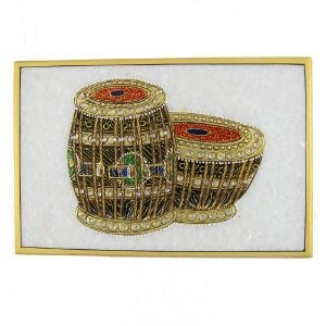 Painting In India Embossed Miniature Painting of Indian Music Instruments on Marble Plate (Kitchen)  http://balanceddiet.me.uk/lushstuff.php?p=B0069LG92C  B0069LG92C