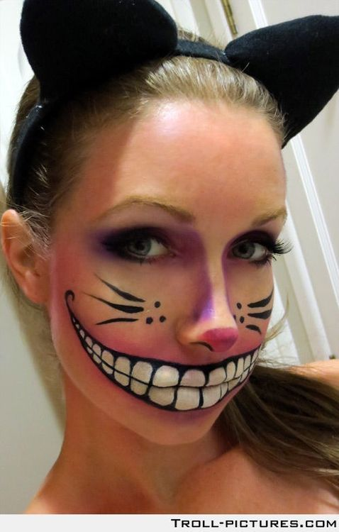 Cool face paint for Cheshire Cat Costume