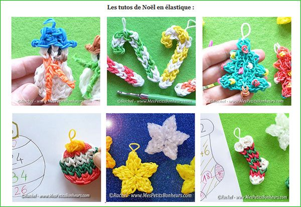 Bricolages Noel en elastiques rainbow loom