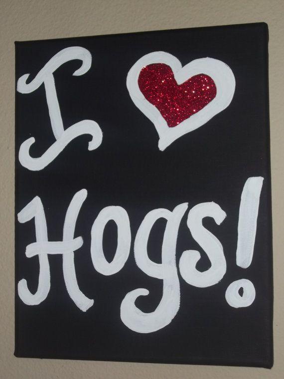 I HEART HOGS Arkansas Razorback painted acrylic by kaatzcreations, $15.00