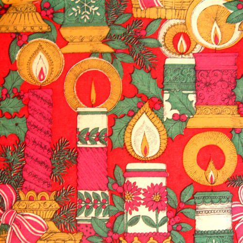 Vintage Christmas gift wrap. This SO reminds me of what Christmas wrapping paper looked like when I was a kid in the early 70's.