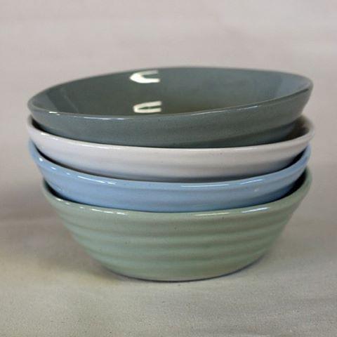 Breakfast bowls slip cast with coloured clay and finished with a clear glaze #waihekeceramics #slipcast #nzmade #waihekeisland…