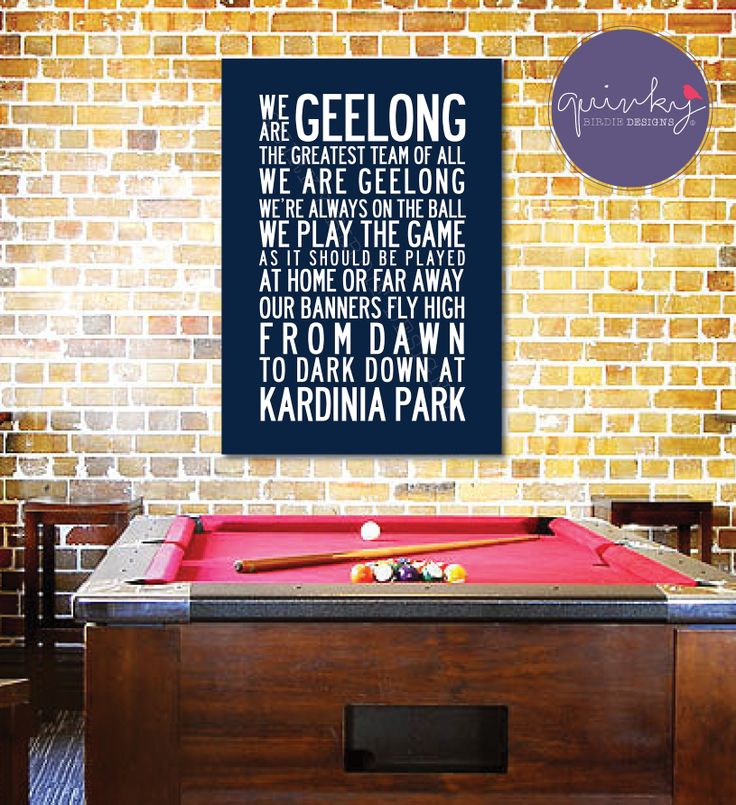 Geelong CATS Team Anthem - Printable digital design, custom size $25 (ready to print on canvas) - Framed A3 print (choice of black, brown or white wood frame, dimensions 40cms x 49cms) $40 (plus postage or free pick up from Geelong area)