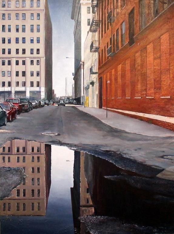 "Saatchi Online Artist: edward kaplan; Acrylic, 2012, Painting ""Reflecting on Brooklyn"""