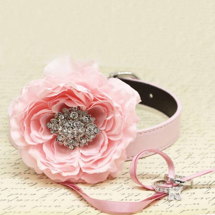 Pink Peony Flower Ring Bearer Dog Collar, Pet Wedding, Puppy Proposal, Beaded dogs collar