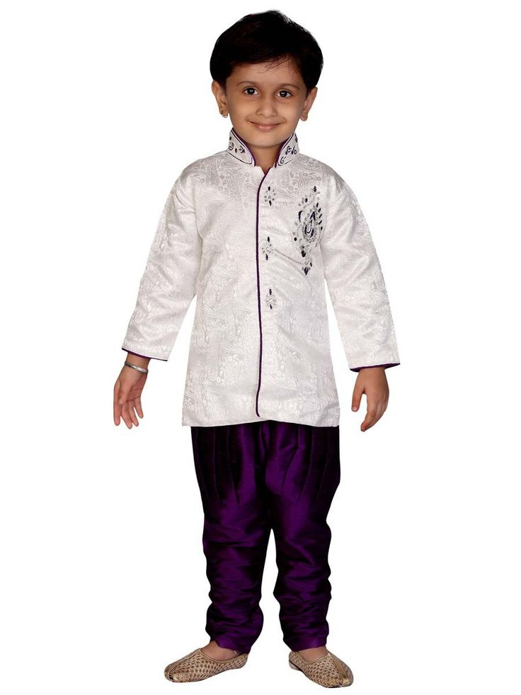 Give a party look to your boy by wearing him this white and purple colored indo western set. Item Code: KDEW103B http://www.bharatplaza.com/new-arrivals/kids-wear.html