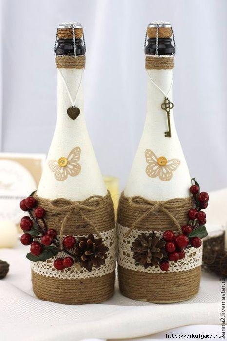 Идеи с бутылками с применением джута, кофе и других материалов