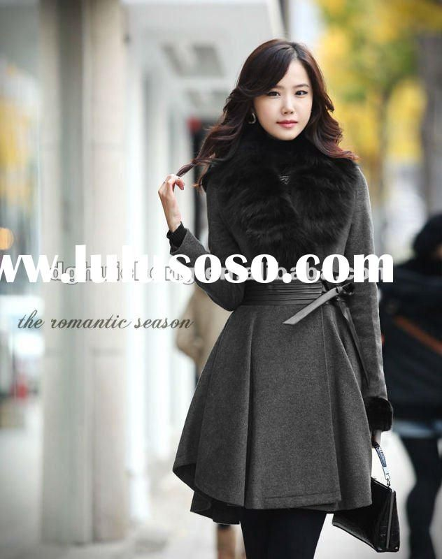 leather Ladies Winter Coats   ladies long wool winter coats and jackets with fur collar new fashion ...