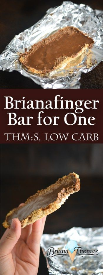 Brianafinger Bar for One - it's a single-serve version of the ever-popular Brianafinger Bars!  All the flavors and crunch of a Butterfinger Bar in low carb cookie bar form!  The chocolate and peanut butter cancel some serious cravings.  THM:S, low carb, sugar free, gluten/egg/dairy free