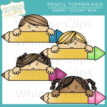 The pencil topper kids clip art pack contains 4 clip art designs of kids peeking over pencils. Great for the top of a page/worksheet, classroom decor or labels, desk nameplates, and more. All designs come in png as well as color and black & white. 300dpi for better scaling and printing.