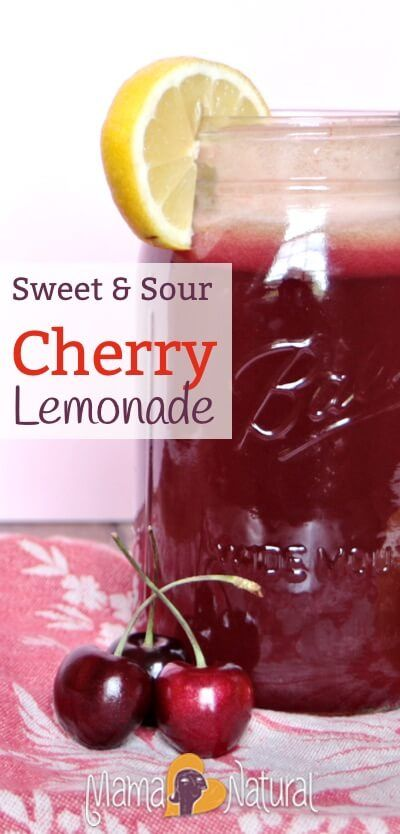 It's cherry season! Check out this yummy summer drink recipe for sweet & sour cherry lemonade. Low in sugar, big on taste! http://www.mamanatural.com/sweet-sour-cherry-lemonade/