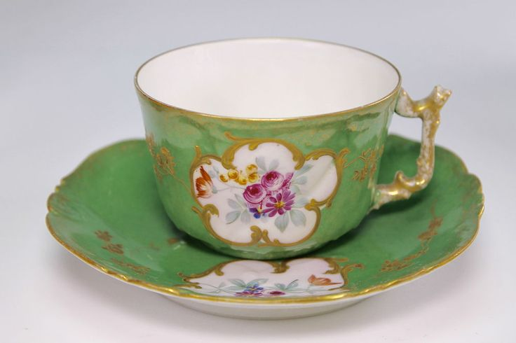Antique B.R&L Limoges Hand Painted Flowers Gold Enameled Green Cup and Saucer #Delvaux