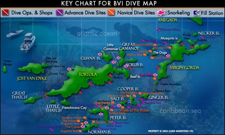 Snorkle map virgin islands