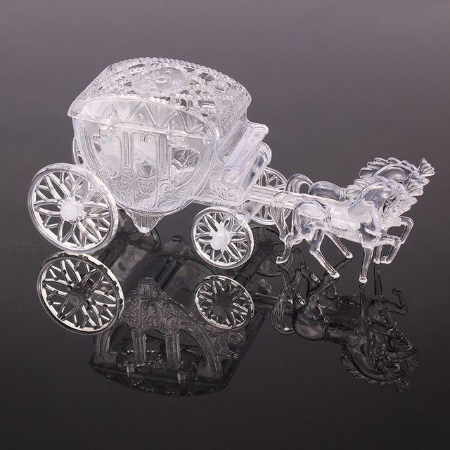 Clear Box Royal Carriage Cinderella Vervoer Bruiloft Gunsten en Geschenken Pakket Snoep Doos Kleine Doos Voor Baby Shower Verjaardagsfeestje