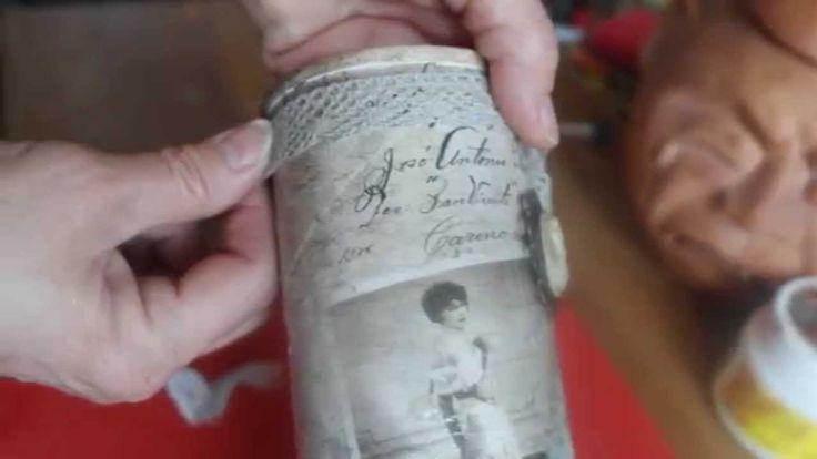 """Винтажная ваза из банки для чипсов (декупаж, состаривание, эффект """"сухой..."""
