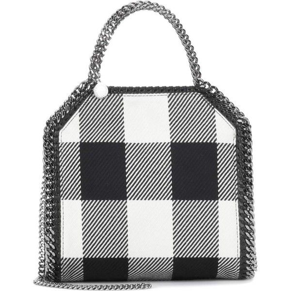 Stella McCartney Falabella Plaid Tote ($965) ❤ liked on Polyvore featuring bags, handbags, tote bags, black, stella mccartney tote, plaid handbag, tote bag purse, plaid purse and handbags totes