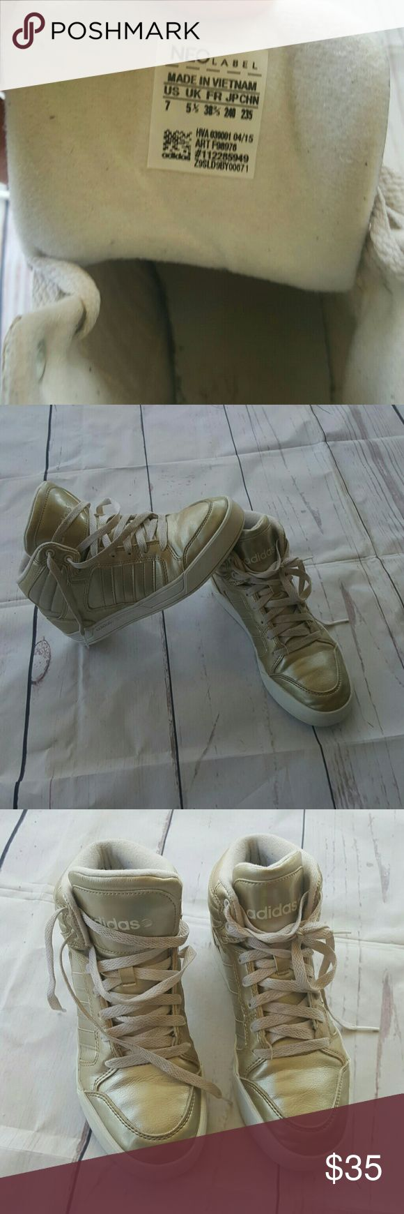 Sz 7 Adidas neo label gold high top These are gold high top adidas NEO label US Women's size 7 really good used condition no rips stains or tears on the Outside Inside is pretty good except picking from fabric Adidas Shoes Sneakers