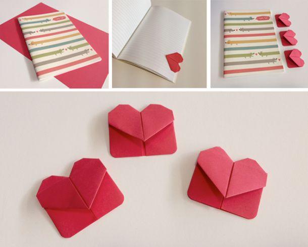 Origami Heart Bookmark. Cortar cuadros de 10x10cm