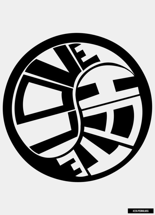"""The letters within the Ying-Yang swirl to fit the circle. The word """"Love"""" is equally wrapped around the world """"Hate"""". You can notice the font enlarge an decrease to fit the design."""