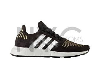 482cd7b0c adidas Swift Run Black Gold Swarovski Crystal Rhinestones Women s Custom