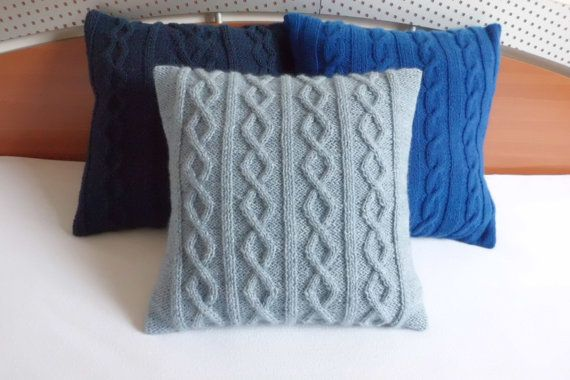 Slate blue hand knit pillow cover knitted cushion by Adorablewares, $36.00