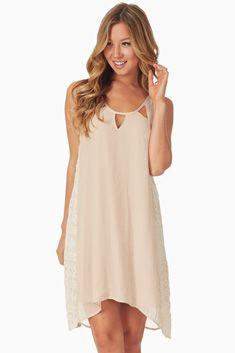 Beige Lace Accent Dress