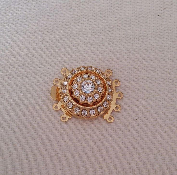 chiusura fermaglio per collana, bracciale,a 5 fili in metallo dorato e strass