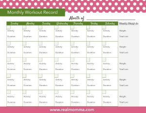 Monthly Workout Plan Printable