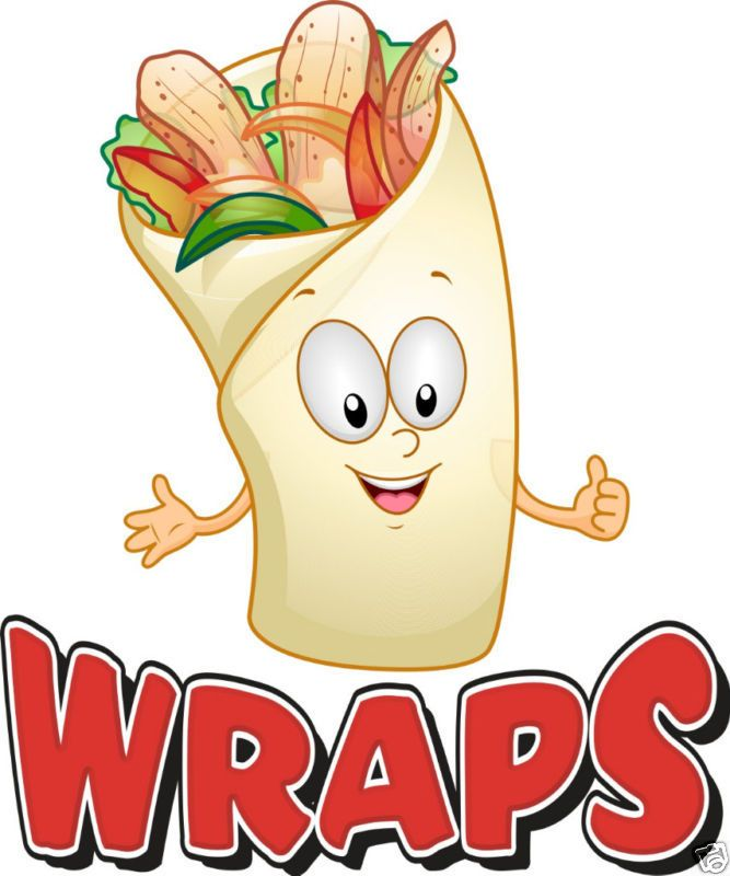 "Wraps Sandwich Concession Decal 12"" Food Menu #HarbourSigns"
