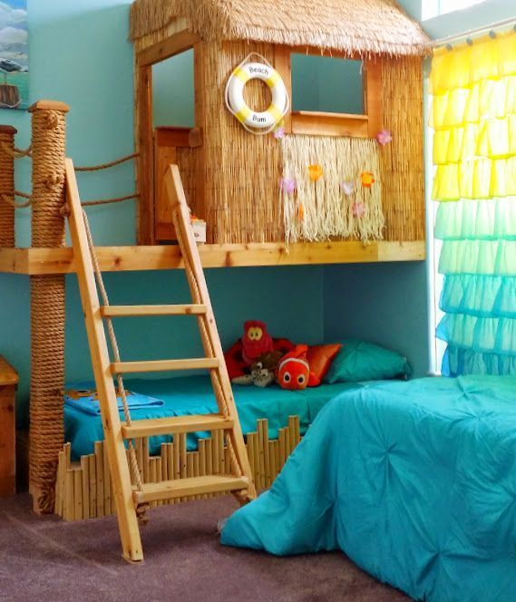 """This darling bed and playhouse, is a bedroom themed for both Disney's underwater movies of """"Nemo"""" and """"The Little Mermaid."""" This room is part of an 8 bedroom vacation rental home by Disney World, in Orlando, FL, and is available for weekly rentals~! See the listing at www.vrbo.com/614710."""