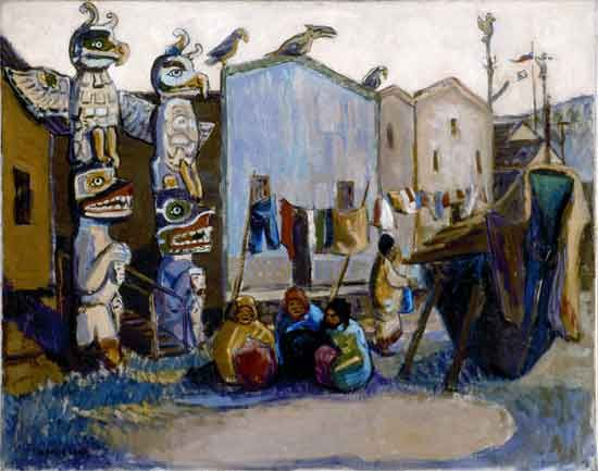 Emily Carr, Indian Village: Alert Bay (1912), oil on canvas [Beaverbrook Art Gallery collection]