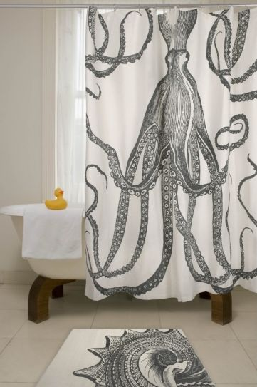 giant squid shower curtain... someone I know needs this if she doesn't already have it @Emily Goff