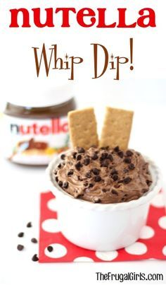 Nutella Whip Dip Recipe! ~ from TheFrugalGirls.com ~ your affection for Nutella is about to grow even stronger with this quick and delicious dip! {YUM!} #recipes #nutellarecipes #thefrugalgirls