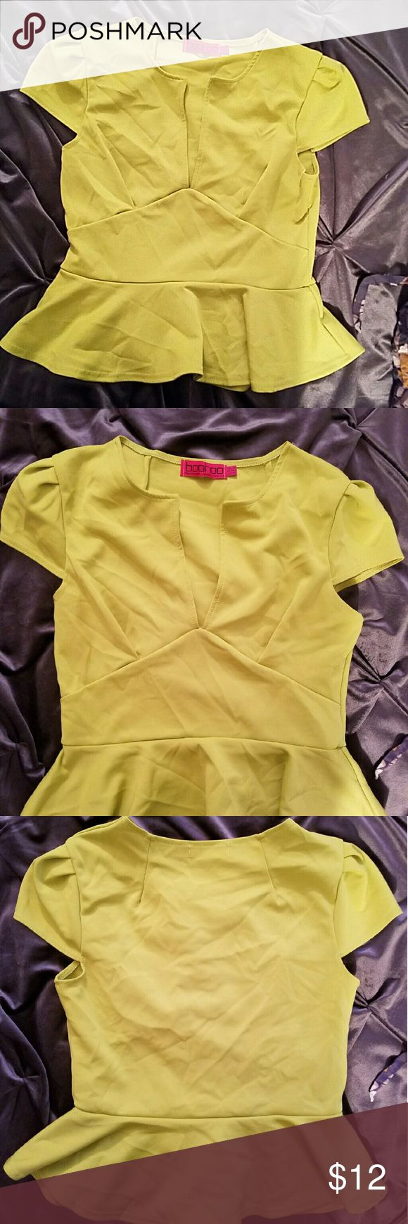 Boohoo Peplum Neon Top Size-12 Neon Green Minor blemish seen in 4th pic Only can see it if you really stare hard Only Worn Twice Boohoo Tops Blouses