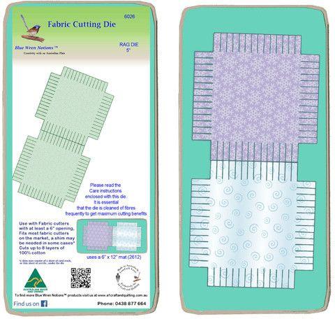 """Rag Die Square 5"""", Multi x 2 - 6026 - includes cutting mat"""