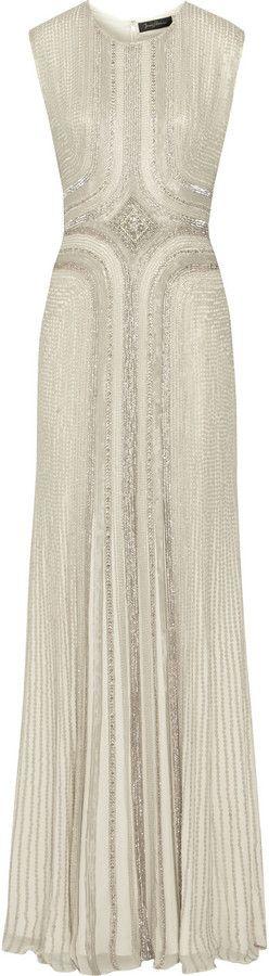 Jenny Packham Embellished Silk-Chiffon Gown                                                                                                                                                                                 More