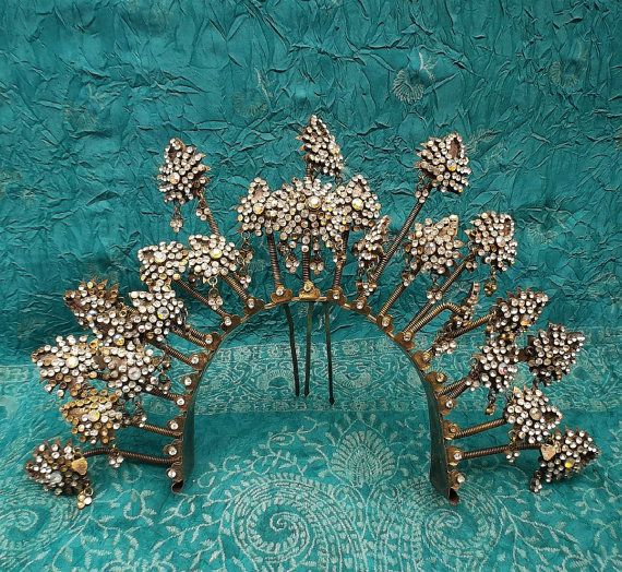 Vintage hair comb tiara crown headpiece by ElrondsEmporium on Etsy, $180.00