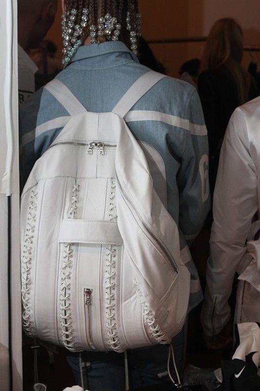 Back-pack from Hood by Air SS14. http://www.dazeddigital.com/fashion/article/17063/1/prabal-gurung-ss14