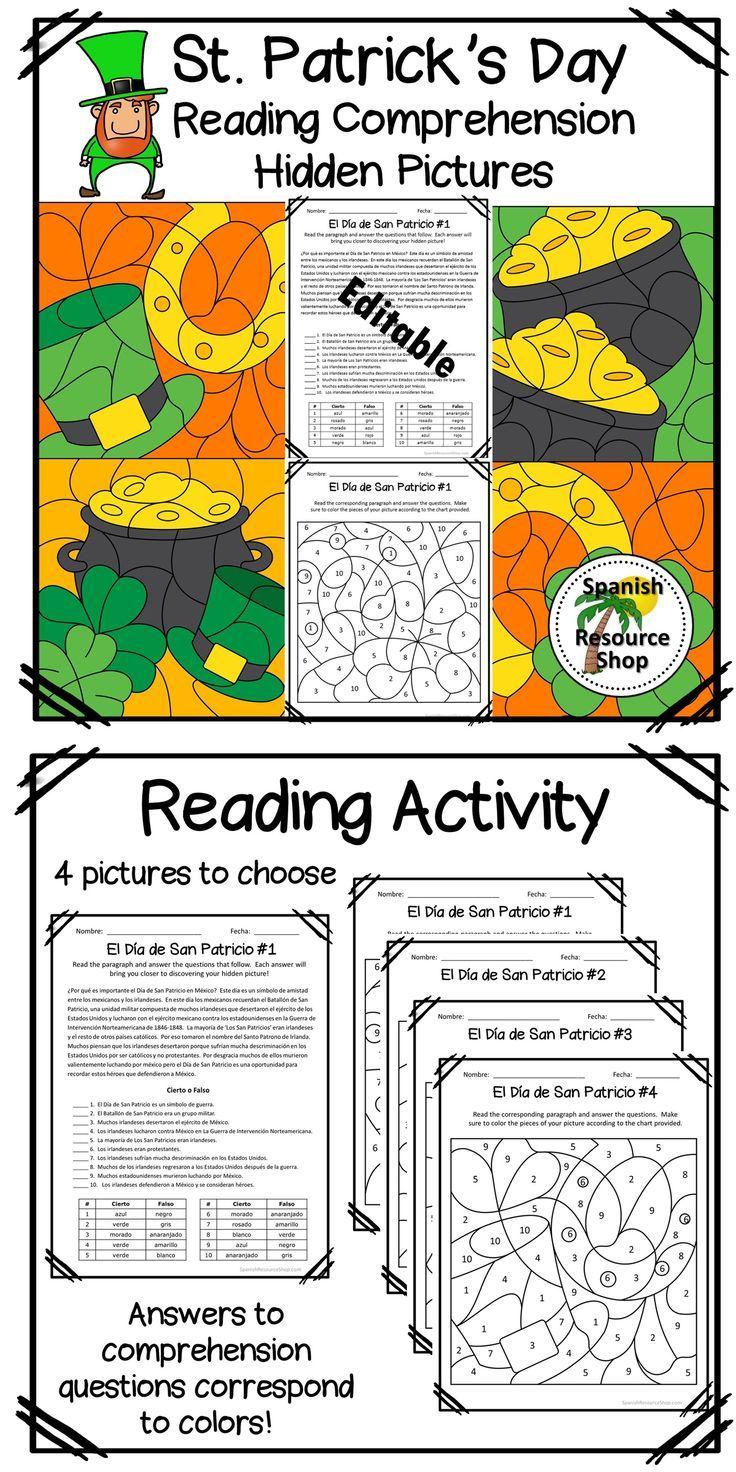 Spanish St Patrick S Day Reading Comprehension Hidden Pictures Reading Comprehension How To Speak Spanish Spanish Lesson Plans [ 1472 x 736 Pixel ]