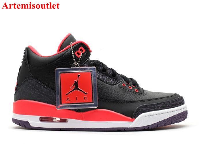 Air Jordan Retro 3 Noir  / Rouge Vif  / Coeur Pourpre Cyan