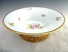 Antique porcelain center bowl repousse gold base Philip Rosenthal design from Victoria's Curio on Ruby Lane