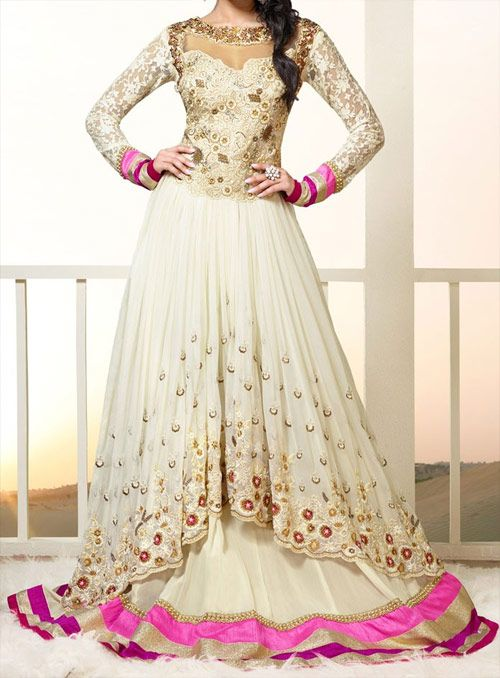 Off White and Pink Shade Shraddha Kapoor Salwar Kameez Frock