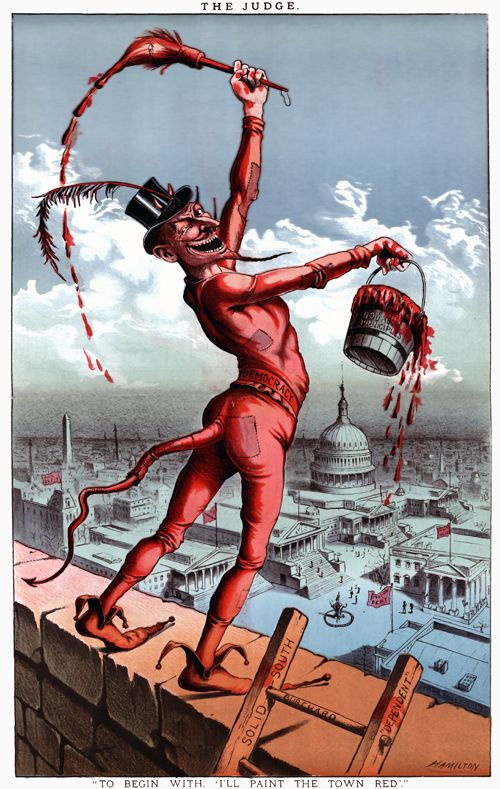 """I will Paint the Town Red: 1885    This cartoon shows """"Democracy"""" portrayed as the devil holding a bucket labeled """"Bourbon Principles."""" A profile caricature of Grover Cleveland appears in the paint brush. The Devil overlooks Washington, D.C., proclaiming he will """"paint the town red."""" Illustrated by Grant E. Hamilton in 1885"""