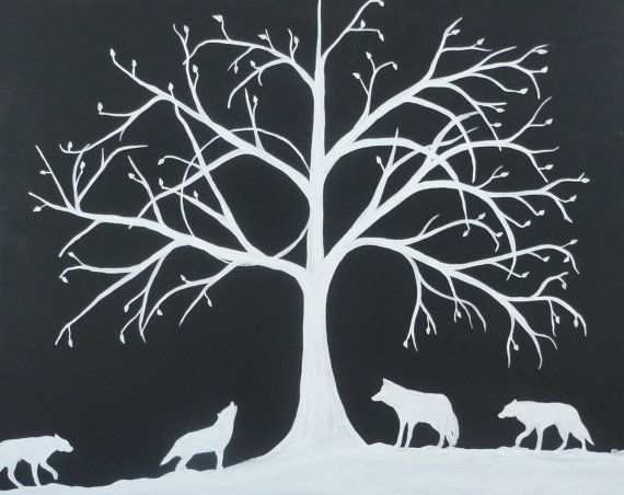 """Tree Abstract wolf painting, black and white original art, """"THE ECLIPSE"""", pack wild life painting, 24x30 canvas, home decor, wall hanging, on Etsy, $206.44"""