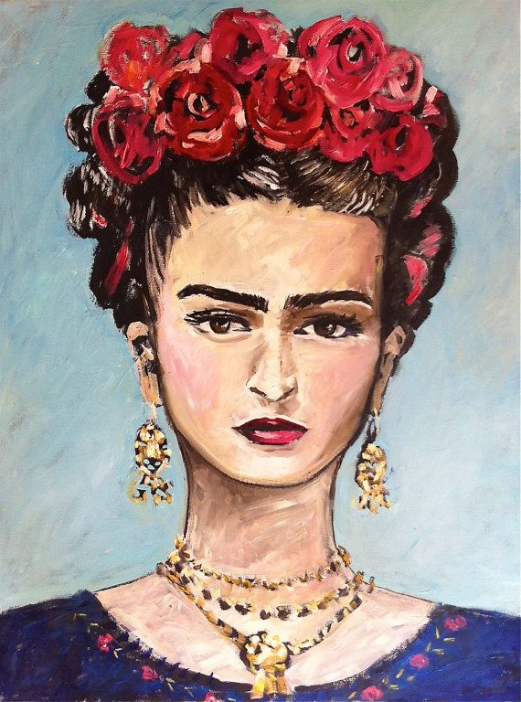 Frida Kahlo Painting Large 30 x 40 by DevinePaintings on Etsy, $150.00